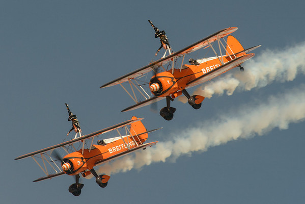 Breitling Wingwalking team flying the Stearman