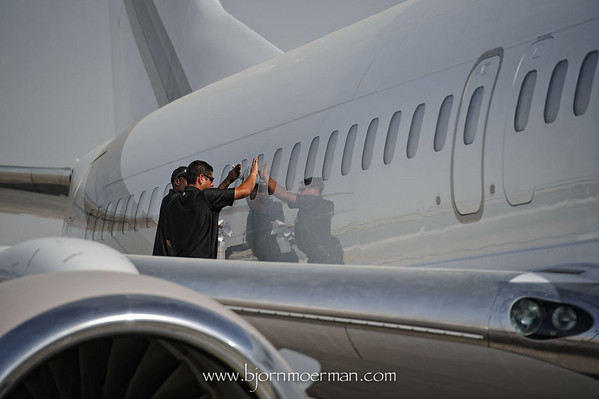 Cleaning a Boeing BBJ
