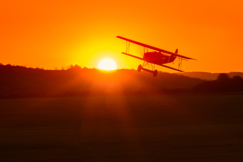 Fokker Dr VII at sunset, Hahnweide 2013