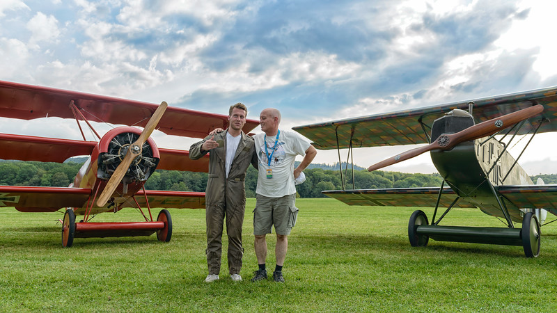 Mikael Carlson after flying his Fokker Dr7 in formation with the Dr1