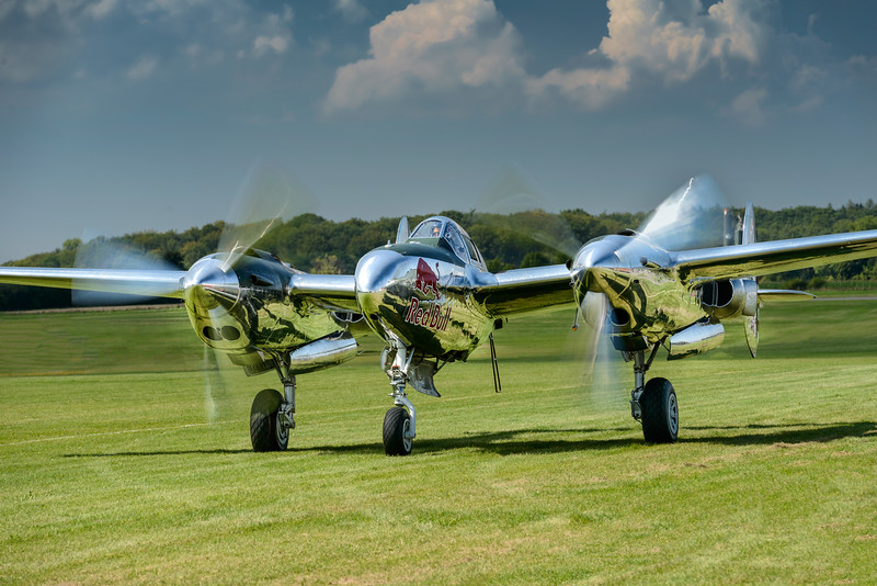 Red Bull P-38 Lightning taxying in at Hahnweide 2013