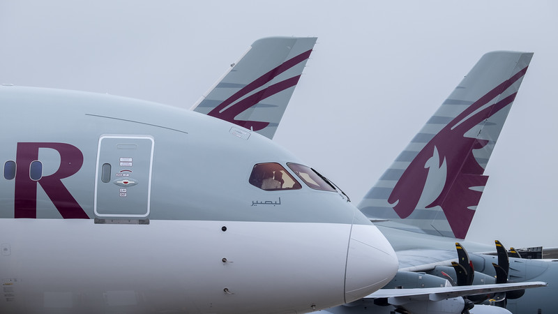 Qatar dominating Paris airshow: B787, A350 and A380 tails