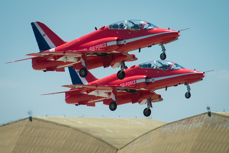Red Arrows taking off for Duxford, UK