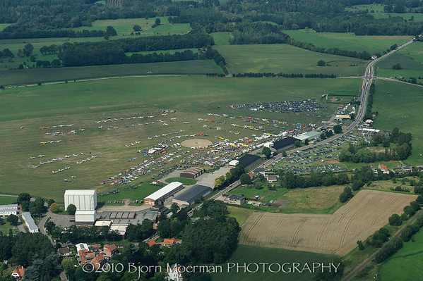 Aerial of Schaffen oldtimer fly and drive-in