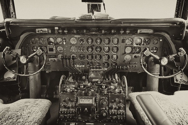 Historical Flight Foundation DC-7B cockpit