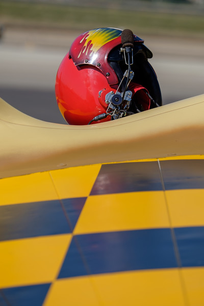 Pilots helmet on Curtiss P-40N Warhawk at Camarillo, CA, USA