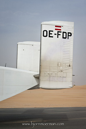 Tail of Short Skyvan at Skydive Dubai, Desert campus