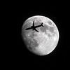 United Flight 1858 Moon Silhouette