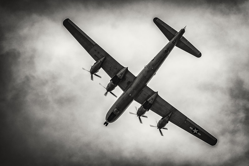 "In a scene that could be right out of the 1940's, B-29 Superfortress ""Fifi"" passes directly overhead at the 2018 Reading World War II Weekend as it prepares to land."