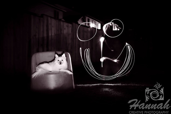 1st PLACE BLUE RIBBON, Washington County Fair Photography Exhibition 2013  Class: Black & White Lot:  Other than Classified Description:  Light Painting using LED laser pointer of a drawing of a smiling face beside a sitting American Eskimo dog.  © Copyright Hannah Pastrana Prieto