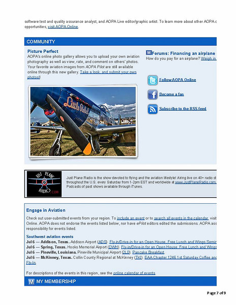 AOPA weekly email publication
