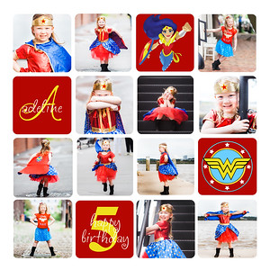 addie 5 year collage_wonder woman