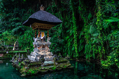 Tropical temple on a small lake