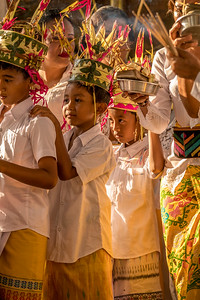 Young boys participating in Balinese village ceremonies