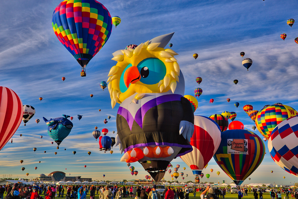 Owl and Mass Ascension at Balloon Fiesta 2014