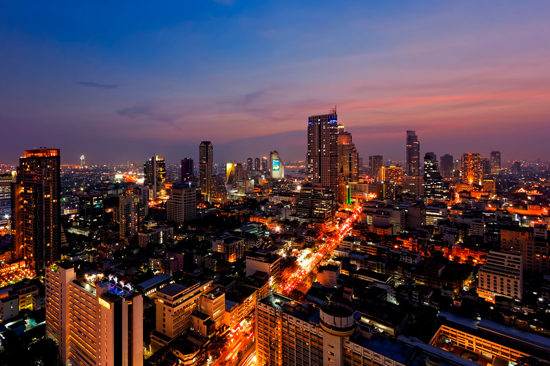 Silom Road to the River Skyline (Cityscape),  Bangkok