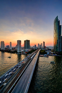 Bangkok River Skyline Sunset (1)