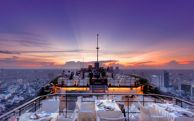 Spaceship Hovering Over Bangkok,  Vertigo & Moon Bar at Banyan Tree Hotel,  Bangkok