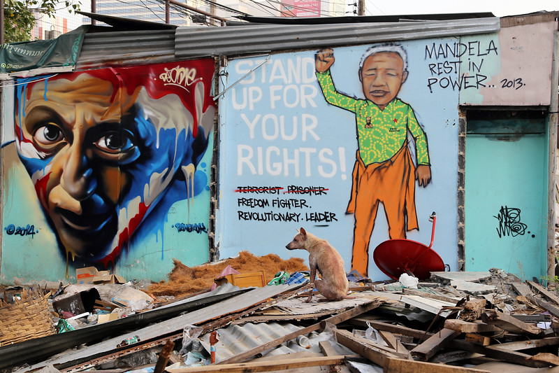 'Stand Up For Your Right'  Nelson Mandela,  Bangkok Street Art