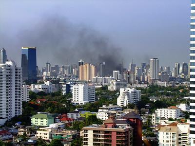 Burning Barricades on Rama IV Road #1, Red Shirts, May 2010