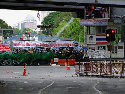 Barricade at Rama IV & Silom Roads Intersection, Red Shirts, May 2010