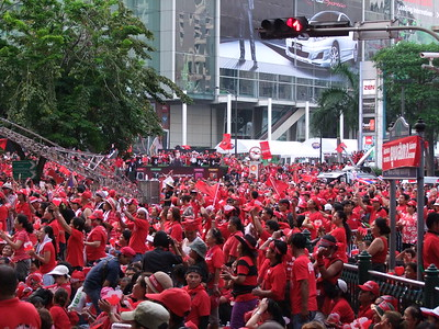 Outside Central World, Red Shirt Ratchaprasong Occupation Day 1 4 April 2010