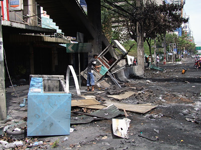 Aftermath of Battle on Rama IV Road #7, Red Shirts, 20 May 2010