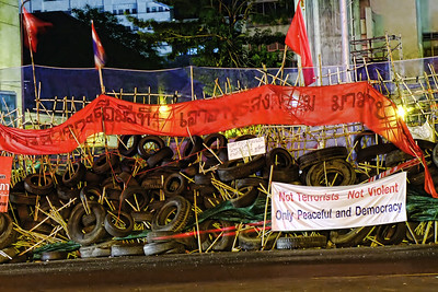 Barricade at Rama IV & Silom Roads Intersection, Red Shirts, April 2010