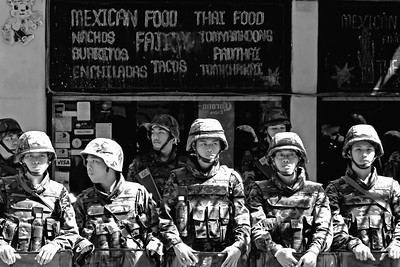 Mexican Stand-off, Silom Road, Red Shirts April 2010