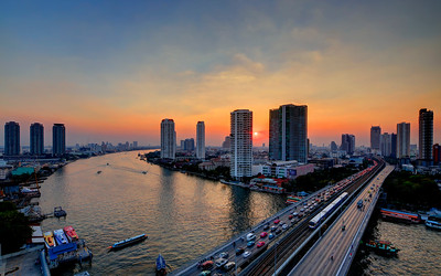 Bangkok River Skyline Sunset (2)