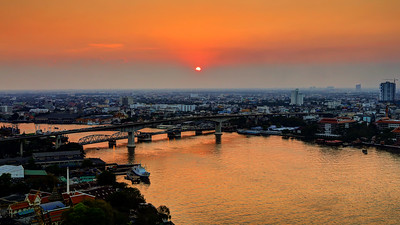 Golden View Towards Bangkok Bridge