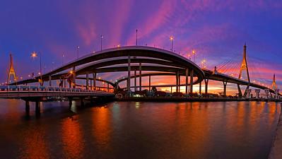 Pano of Bhumibol Mega Bridge, Bangkok, Thailand