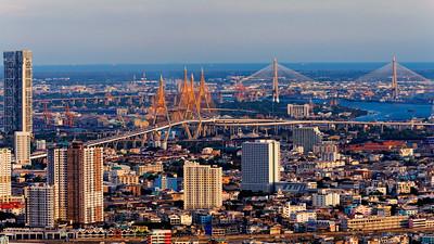 View to Bhumibol & Rama II Bridges, Bangkok