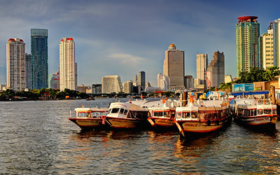 Floating Boats & Towers, Bangkok Riverscape