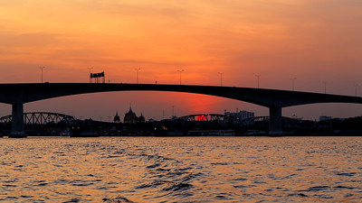 Bangkok Bridge & River Sunset Glow