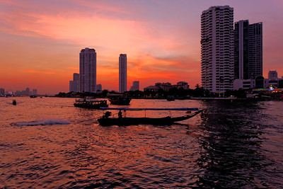 Bangkok River Sunset with Long Tail Boat