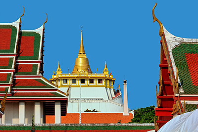 Temple of the Golden Mount framed by Wat Saket,  Bangkok