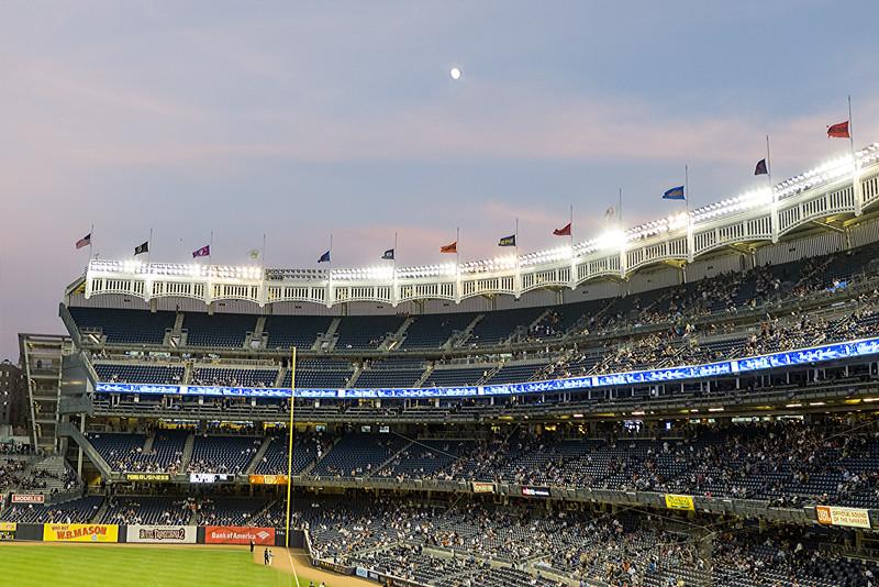 Near full moon over the stadium
