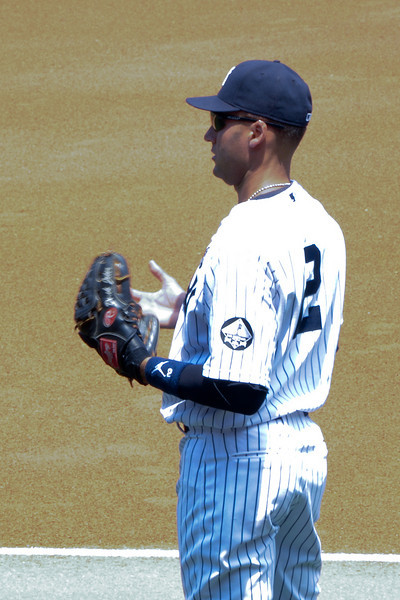 Derek Jeter during pre-game warm ups - July 18, 2010
