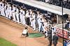 Yankee team standing in tribute to Yogi's memory