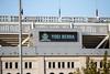 Tribute outside the stadium for Yogi Berra's passing