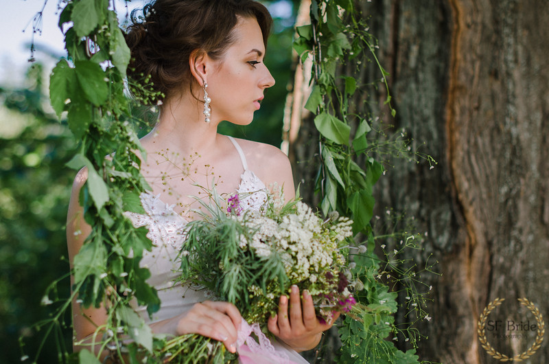 Beautiful bride with the bouquet