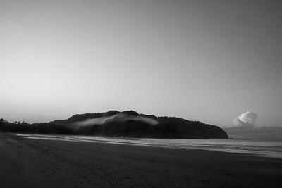 foggy morning on the beach