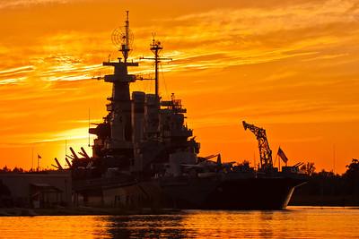 USS North Carolina during sunset, Battleship