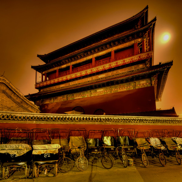 Drum Tower under the Moon