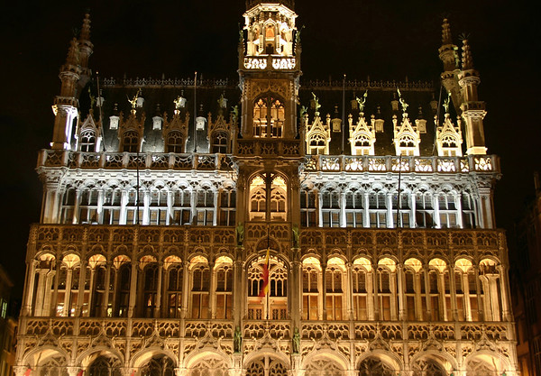 """""""La Mansion du Roi"""" (French for King's House) - a.k.a """"Het Broodhuis"""" (Dutch for """"bread house"""") - nocturnally - Brussels"""