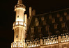 Nocturnal view, of the eastern upper section of the Stadhuis (Town Hall) - Brussels