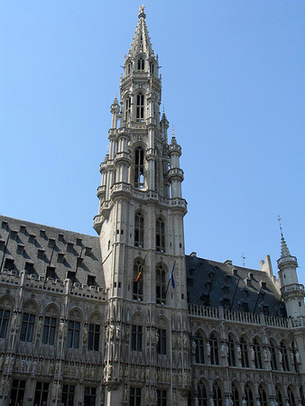 Town Hall - the 315 ft. (96 m) tower and spire, with was completed in 1454, with the statue of the archangel Michael, patron saint of Brussels atop the spire - Brussels