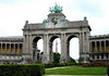 "Triumphal Arch - completed in 1905 - built to commemorate the 50th anniversary of the independence of Belgium (1830) - statues at the base of the columns depict the provinces - here at the Parc du Cinquantenaire Park ""Park of the 50th Anniversary"" - also called Jubel Park (Jubilee Park - Dutch) - Brussels."