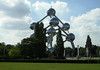 Atomium - at  335 ft. (102 m) high, with its nine interconnected spheres, it represents an elementary iron crystal enlarged 165 billion times - adjacent to the Osseghem Park, north-central Brussels